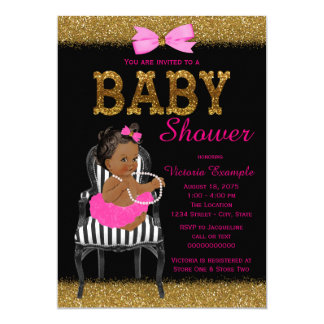 Hot Pink Black and Gold Ethnic Girl Baby Shower Card
