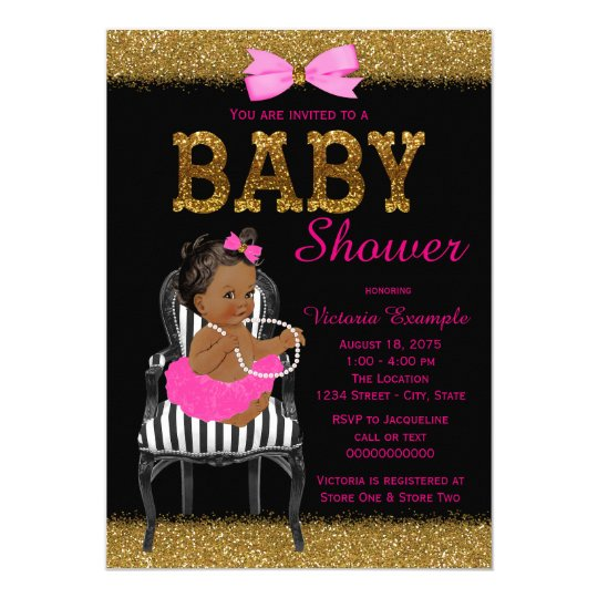 Hot pink black and gold ethnic girl baby shower invitation zazzle hot pink black and gold ethnic girl baby shower invitation filmwisefo