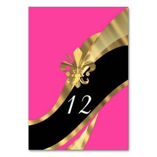 Hot pink, black and gold fleur de lys table cards