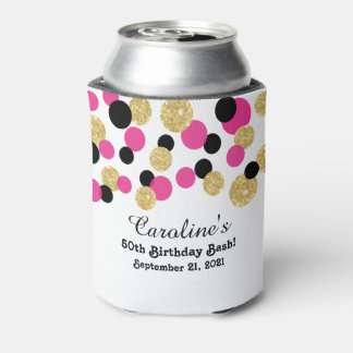 Hot Pink, Black and Gold Glitter Confetti | 50th Can Cooler