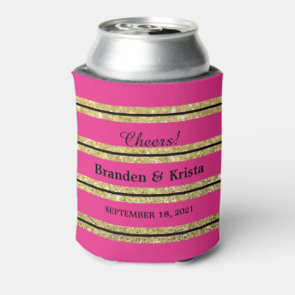 Hot Pink, Black and Gold Glitter Stripes | Wedding Can Cooler