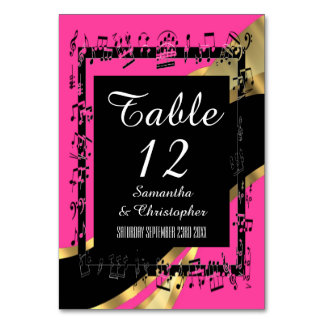 Hot pink, black and gold personalized number table card