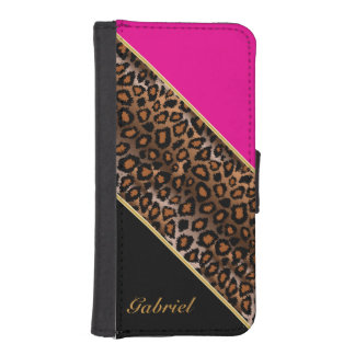 Hot Pink, Black and Jaguar Animal Print iPhone SE/5/5s Wallet