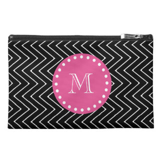 Hot Pink, Black and White Chevron | Your Monogram Travel Accessory Bags