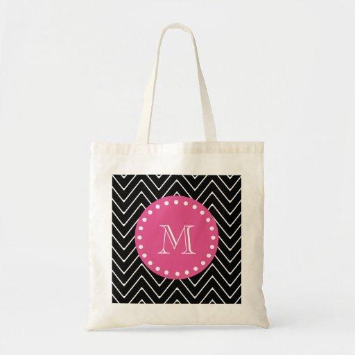Hot Pink, Black and White Chevron | Your Monogram Bag