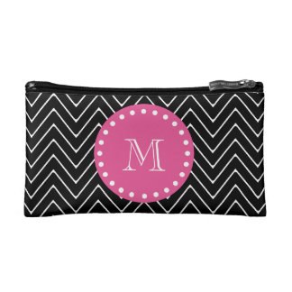 Hot Pink, Black and White Chevron | Your Monogram Makeup Bags