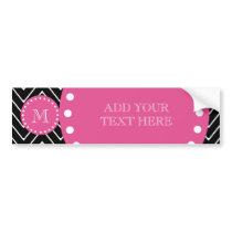 Hot Pink, Black and White Chevron | Your Monogram Bumper Sticker