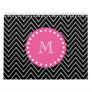 Hot Pink Black and White Chevron Your Monogram Calendars
