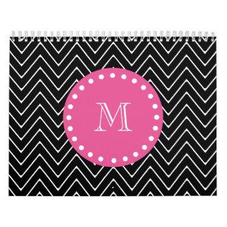 Hot Pink, Black and White Chevron | Your Monogram Calendar