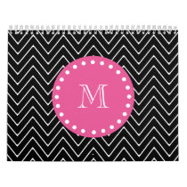Hot Pink, Black and White Chevron | Your Monogram Calendar