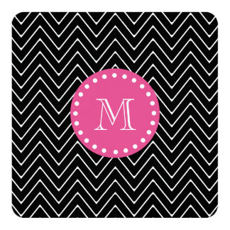 Hot Pink, Black and White Chevron | Your Monogram Card