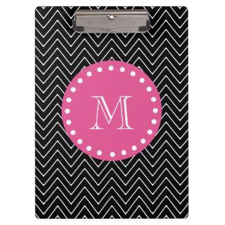 Hot Pink, Black and White Chevron | Your Monogram Clipboard