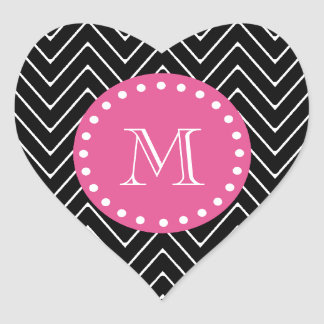 Hot Pink, Black and White Chevron | Your Monogram Heart Sticker