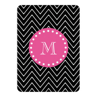 "Hot Pink, Black and White Chevron | Your Monogram 4.5"" X 6.25"" Invitation Card"