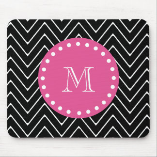 Hot Pink, Black and White Chevron | Your Monogram Mouse Pad