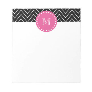 Hot Pink Black and White Chevron Your Monogram Note Pads