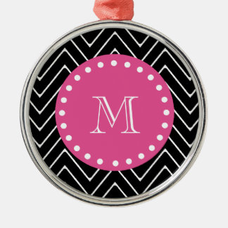 Hot Pink, Black and White Chevron | Your Monogram Ornament