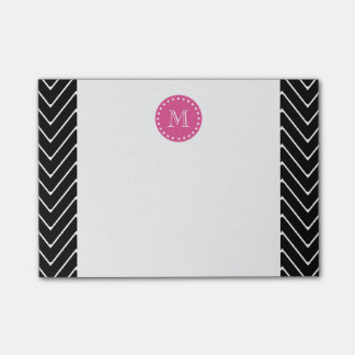 Hot Pink, Black and White Chevron | Your Monogram Post-it® Notes