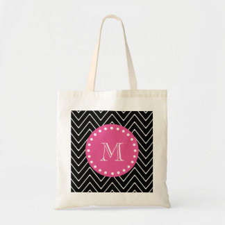Hot Pink, Black and White Chevron | Your Monogram Tote Bag