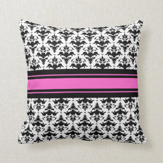 Hot Pink, Black and White French Damask Pillow