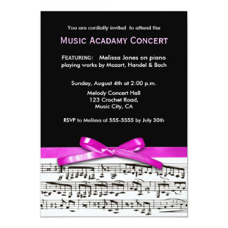 Hot Pink Black and white music recital concert 5x7 Paper Invitation Card