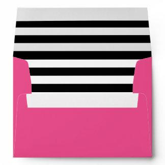 Hot Pink Black and White Stripes Liner Envelope
