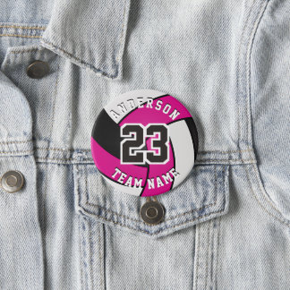 Hot Pink, Black and White Volleyball Button