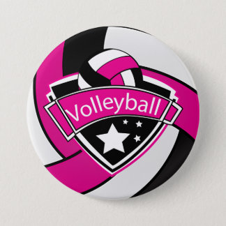 Hot Pink, Black and White Volleyball Pinback Button