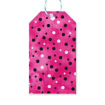 Hot Pink Black and White Watercolor Polka Dots Gift Tags