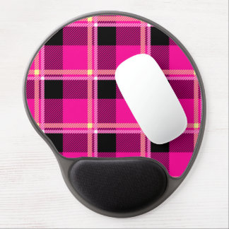 Hot Pink, Black and Yellow Plaid Gel Mouse Pad