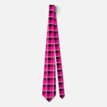 Hot Pink, Black and Yellow Plaid Neck Tie