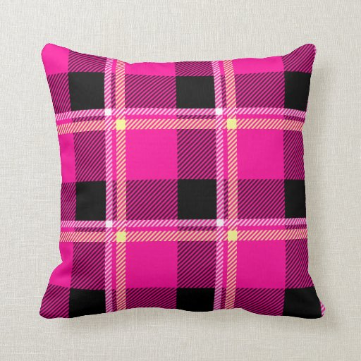 Hot Pink, Black and Yellow Plaid Throw Pillow Zazzle