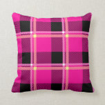 Hot Pink, Black and Yellow Plaid Throw Pillow