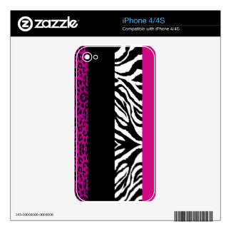 Hot Pink Black and Zebra Custom Animal Print iPhone 4S Decals