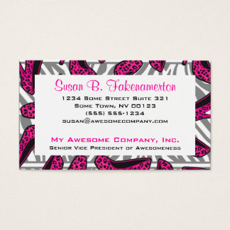 Hot Pink & Black Animal Print High Heel Shoes Business Card