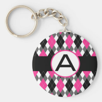 "Hot Pink & Black Argyle Monogram Keychain ""A"""