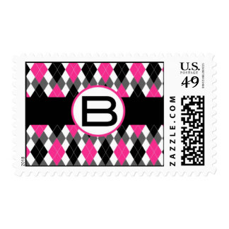 "Hot Pink & Black Argyle Monogram Stamp ""B"""
