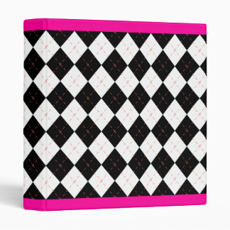 Hot Pink Black Argyle  Retro Binder Scrapbook