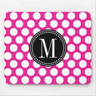 Hot Pink & Black Big Polka Dots Monogrammed Mouse Pad