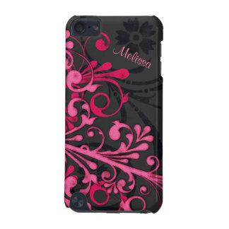 Hot Pink Black Bold Elegant Floral iPod 5G Case
