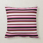 [ Thumbnail: Hot Pink, Black, Brown, and Mint Cream Pattern Throw Pillow ]