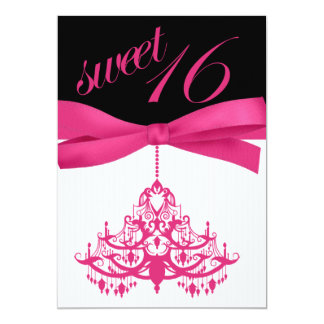 Hot Pink Black Chandelier Sweet Sixteen Invitation