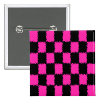 Hot Pink & Black Checkered Buttons