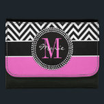 """Hot Pink Black Chevron Chic Monogram Name Wallet<br><div class=""""desc"""">Classic Elegance - add your own name and monogram.  Hot Pink and Black Chevron Zig Zag Monogrammed. Elke Clarke&#169; Other styles available in our shop at www.zazzle.com/monogramgallery. Easily change the background and monogram color.</div>"""