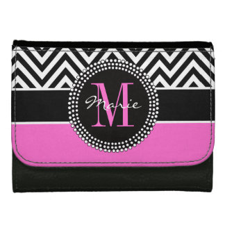 Hot Pink Black Chevron Chic Monogram Name Wallet
