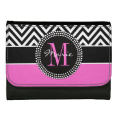 Hot Pink Black Chevron Chic Monogram Name Wallets at Zazzle