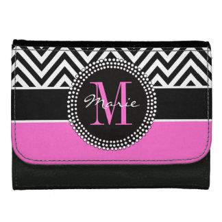 Hot Pink Black Chevron Chic Monogram Name Wallets