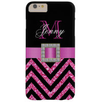 HOT PINK BLACK CHEVRON GLITTER GIRLY BARELY THERE iPhone 6 PLUS CASE