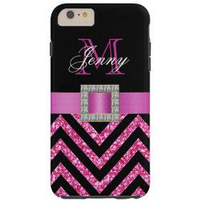 HOT PINK BLACK CHEVRON GLITTER GIRLY TOUGH iPhone 6 PLUS CASE