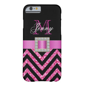 HOT PINK BLACK CHEVRON GLITTER GIRLY BARELY THERE iPhone 6 CASE